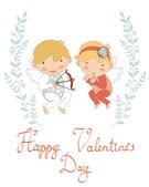 Valentine`s day greeting card with cupids — Stok Vektör