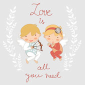 Valentine`s day card with two cupids — Stockvector