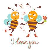 Bees couple — Stock Vector