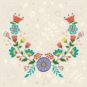 Card with floral wreath — Stok Vektör