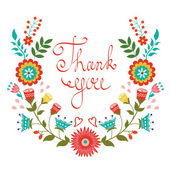 Thank you card with floral wreath — Stock Vector