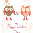 Valentine`s day card with owls — Stock Vector