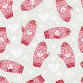 Pattern with cute mittens — Stock Vector