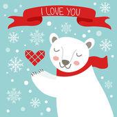 Valentine`s day card with cute polar bear — Stock Vector