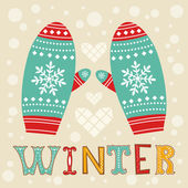 Winter mittens — Stock Vector
