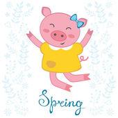 Jumping pig — Stock Vector