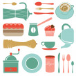 Kitchen set in soft colors — Stock Vector