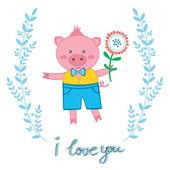 Cute pig in love — Stock Vector