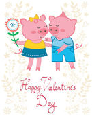Cochons amoureux — Vecteur