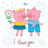 Cute pigs in love — Stock Vector