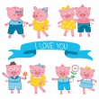 Cute pigs in love couples — Stock Vector