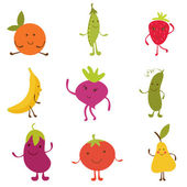 Happy fruit and vegetables characters — Stock Vector