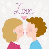 Children couple kissing — Stock Vector