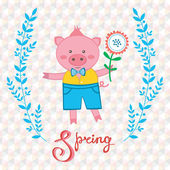 Spring pig — Stock Vector
