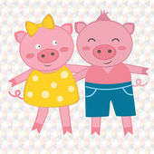 Spring pigs — Vector de stock