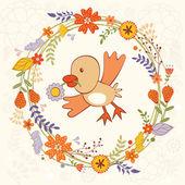 Bird in wreath — Stock Vector
