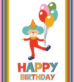 Birthday card with clown — Stockvektor