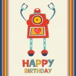 Birthday card with robot — Stock Vector #43672643
