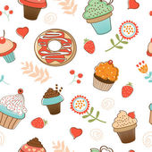 Colorful seamless desserts pattern — Stock Vector