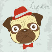 Hipster pug — Stock Vector