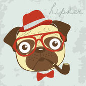 Pug hipster smoking pipe — Stock Vector