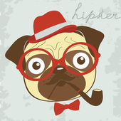 Pug smoking pipe — Stock Vector
