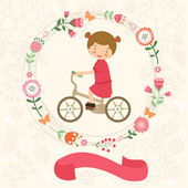 Little girl on bycicle — Stock Vector