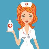Beautiful doctor holding medicine — Stock Vector