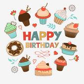 Doğum günü kartı tatlılar — Stok Vektör