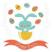 Easter rabbit hatching and juggling with Easter eggs — Stock Vector