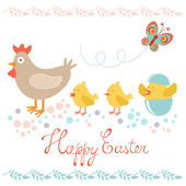 Easter card with chicken and chicks — Stock Vector
