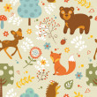 Woodland pattern — Vector de stock  #44439507
