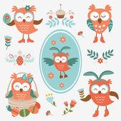 Cute Easter olws collection — Stock Vector