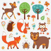 Funny forest animals collection — Stock Vector