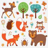 Colección de animales graciosos bosque — Vector de stock