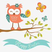 Happy Easter owl sitting on a branch — Stock Vector
