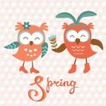Cute owls couple — Stok Vektör #44440785