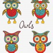 Cute colorful owls set — Stock Vector