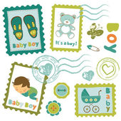 Baby boy stamps collection — Stock Vector