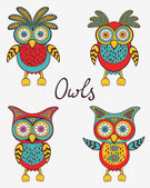 Cute colorful owls set — Vector de stock