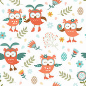 Cute Easter owls pattern — Stock Vector