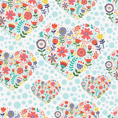 Hearted floral pattern — Stock Vector