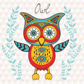 Cute owl character — Stock Vector