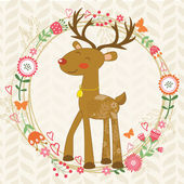 Cute dear in floral wreath — Vecteur