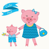 Mother pig and piglet — Stock Vector