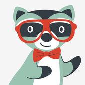 Happy raccoon gentleman — Stock Vector