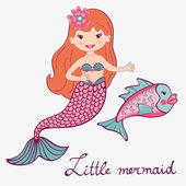 Mermaid and fish — Vector de stock