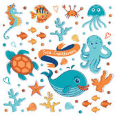 Sea creatures collection — Stock Vector
