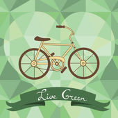 Bicycle on a geometric background — Stock Vector