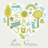 Live green — Stock Vector